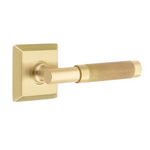 T-Bar Knurled SELECT Satin Brass Door Lever w/ Quincy Rosette