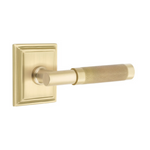 T-Bar Knurled SELECT Satin Brass Door Lever w/ Wilshire Rosette