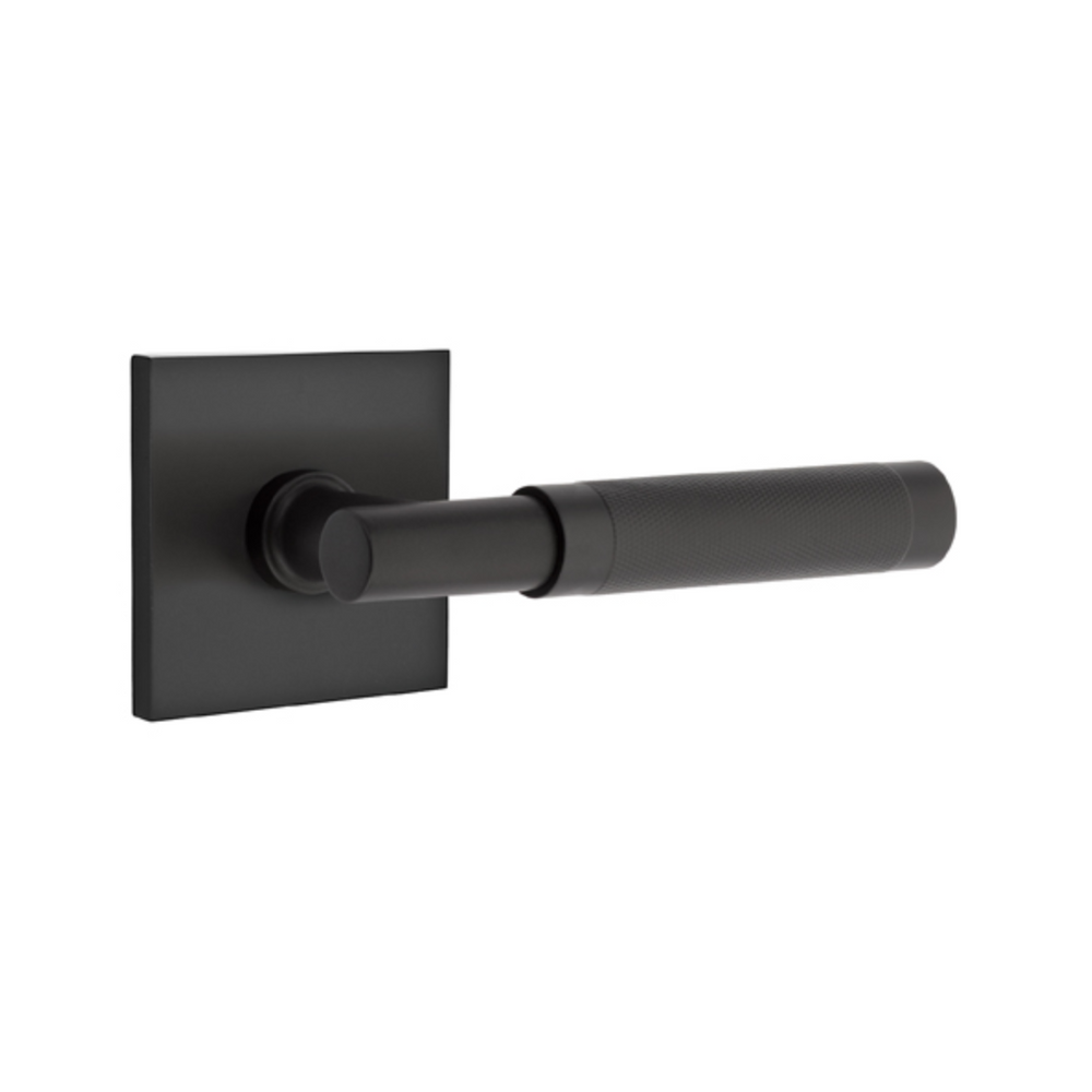 T-Bar Knurled SELECT Matte Black Door Lever w/ Square Rosette