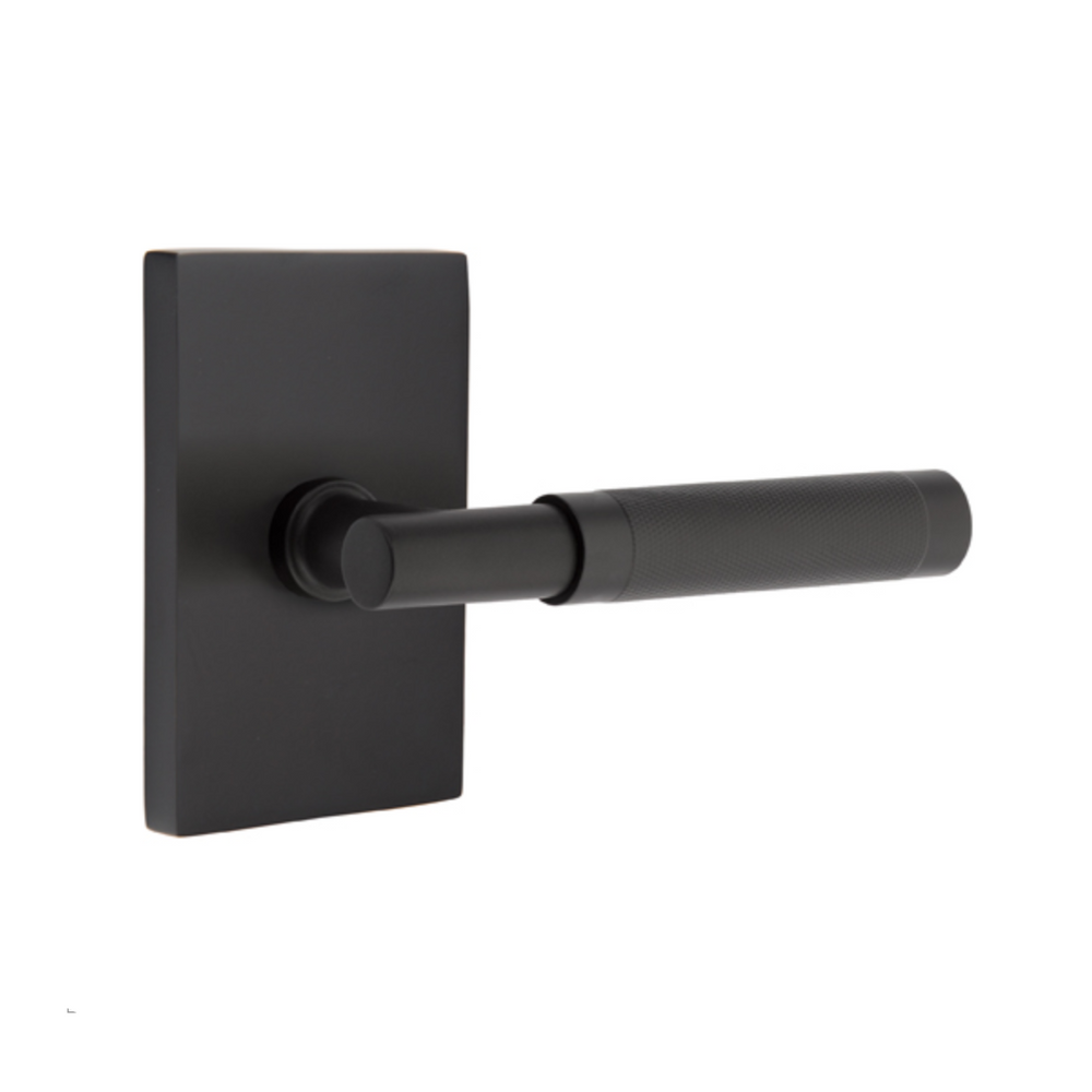 T-Bar Knurled SELECT Matte Black Door Lever w/ Modern Rectangular Rosette