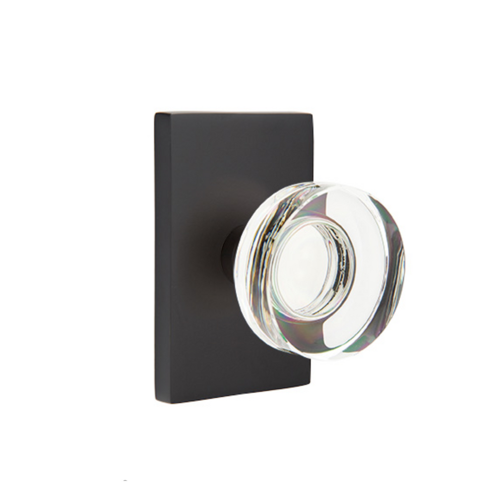 Modern Disc Crystal Knob in Matte Black Door Knob w/ Modern Rectangular Rosette