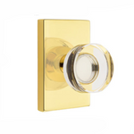 Modern Disc Crystal Knob in Unlacquered Polished Brass Door Knob w/ Modern Rectangular Rosette