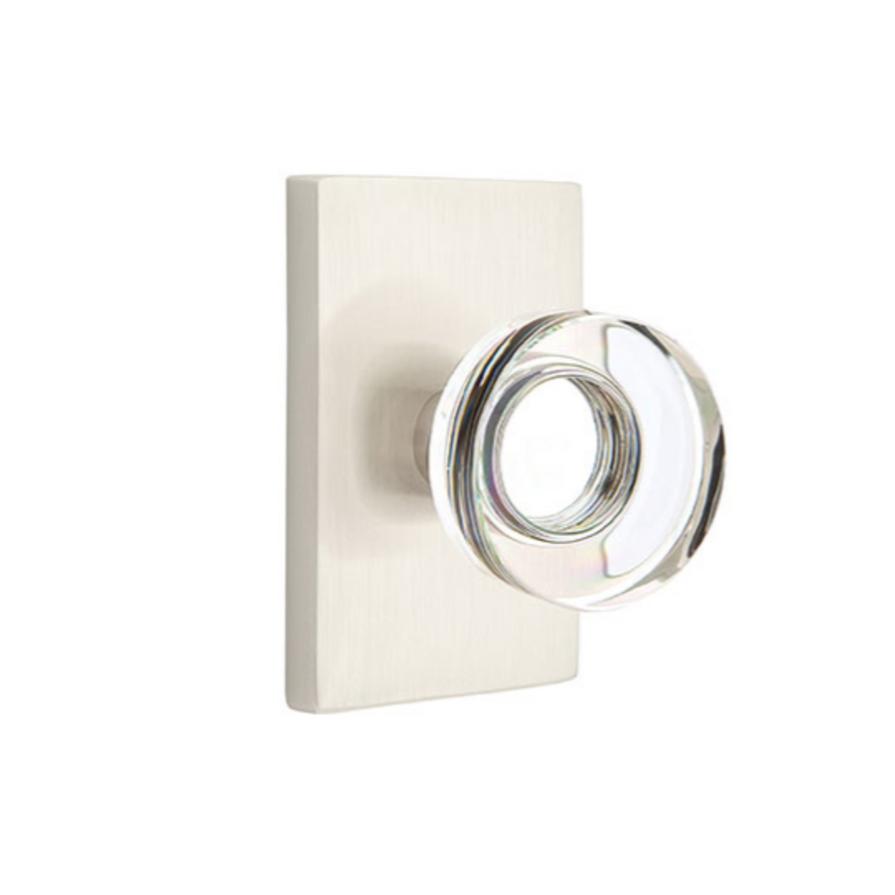 Modern Disc Crystal Knob in Satin Nickel Door Knob w/ Modern Rectangular Rosette