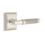 T-Bar Knurled SELECT Satin Nickel Door Lever w/ Wilshire Rosette