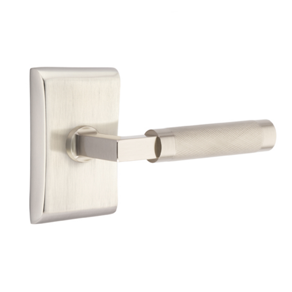 T-Bar Knurled SELECT Satin Nickel Door Lever w/ Neos Rosette
