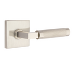 T-Bar Knurled SELECT Satin Nickel Door Lever w/ Square Rosette