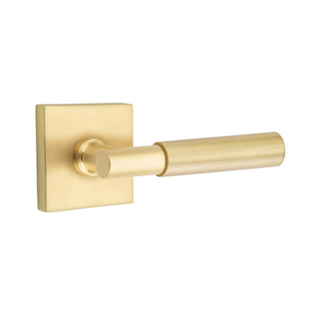 Satin Brass Myles Door Lever w/ Square Rosette