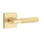 T-Bar Straight Knurled SELECT Satin Brass Door Lever w/ Square Rosette