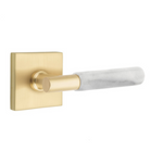 T-Bar White Marble SELECT Satin Brass Door Lever w/ Square Rosette