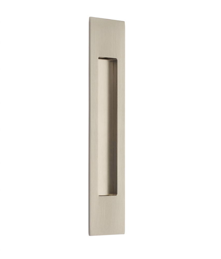 Modern Rectangular Flush Solid Recess Door Pull in Satin Nickel
