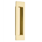 Modern Rectangular Flush Unlacquered Polished Brass Recess Door Pull