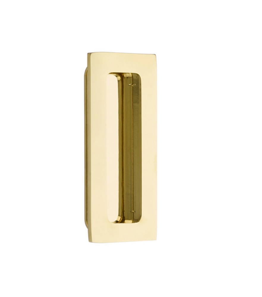Modern Rectangular Flush Polished Brass Recess Door Pull