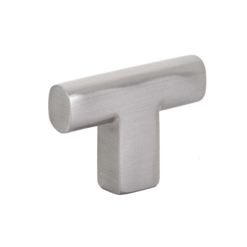 "Brass ""Luxe"" T-Knob Cabinet Knob in Satin Nickel"