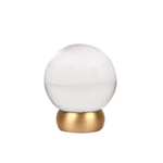 Round Lew's Hardware 66-401 Brass and Glass Cabinet Knob