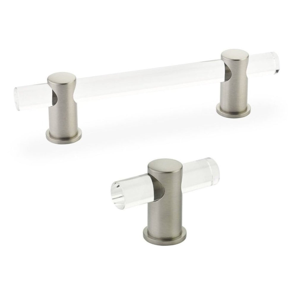 "Lucite ""Luz"" Satin Nickel Cabinet Knobs and Drawer Pulls"