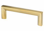 "Satin Brass ""Trane"" Drawer Pulls and Knob - Brass Cabinet Hardware"