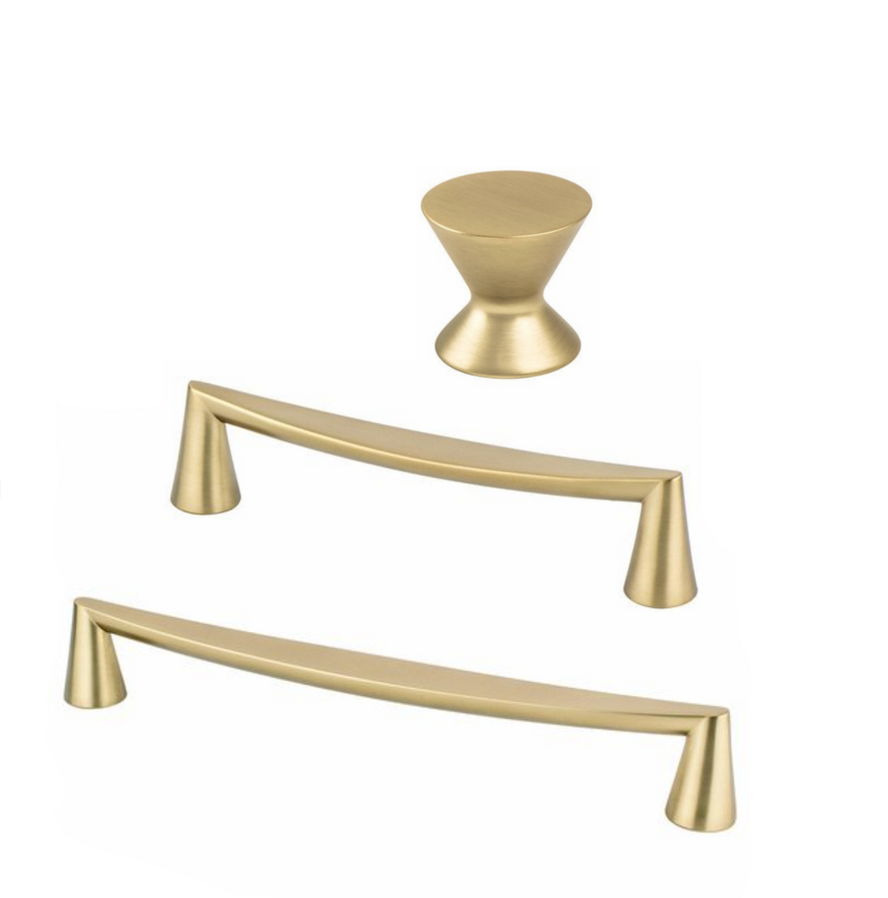 "Satin Brass ""Core"" Drawer Pulls and Knob - Brass Cabinet Hardware"