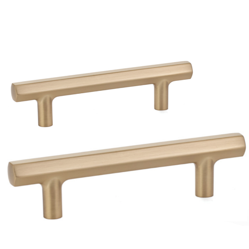 Mod Hex Satin Brass Geometric Drawer Pulls