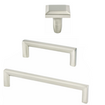 "Brushed Nickel ""Trane"" Drawer Pulls and Knob - Brass Cabinet Hardware"