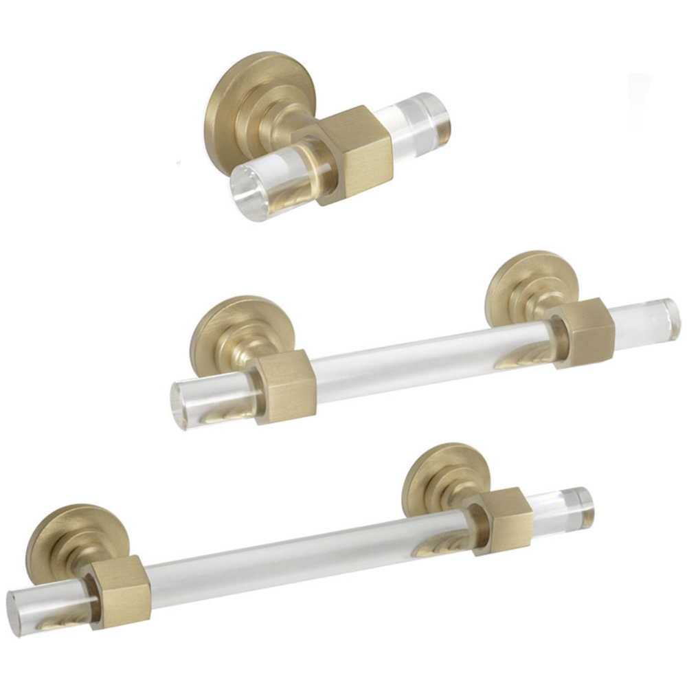 "Satin Brass and Lucite""Lexi"" Cabinet Knob and Drawer Handles - Brass Cabinet Hardware"