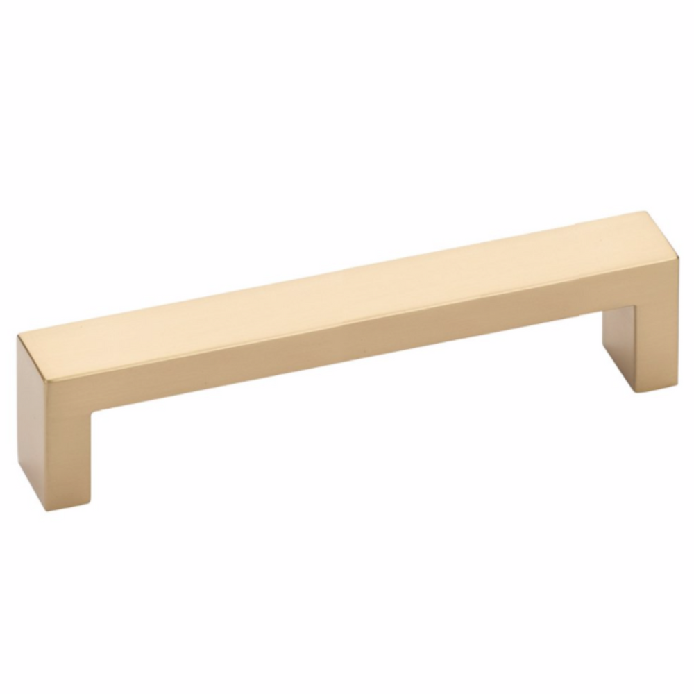 Modern Rectangular Keaton Brass Drawer Pulls in Satin Brass - Brass Cabinet Hardware