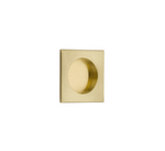 "Square Flush Solid Brass Recess Door Pull 2-1/2"" in Satin Brass - Brass Cabinet Hardware"