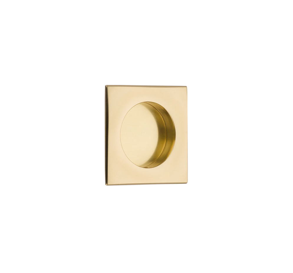 "Square Flush Solid Brass Recess Door Pull 2-1/2"" in Polished Brass - Brass Cabinet Hardware"