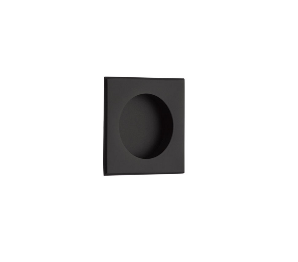 "Square Flush Solid Brass Recess Door Pull 2-1/2"" in Matte Black"