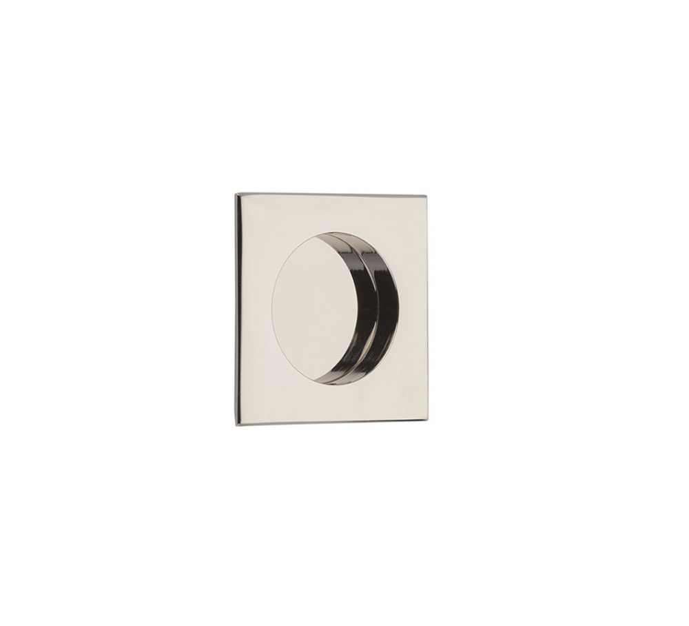 "Square Flush Solid Brass Recess Door Pull 2-1/2"" in Polished Nickel - Brass Cabinet Hardware"