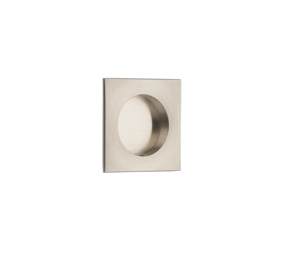 "Square Flush Solid Brass Recess Door Pull 2-1/2"" in Satin Nickel - Brass Cabinet Hardware"