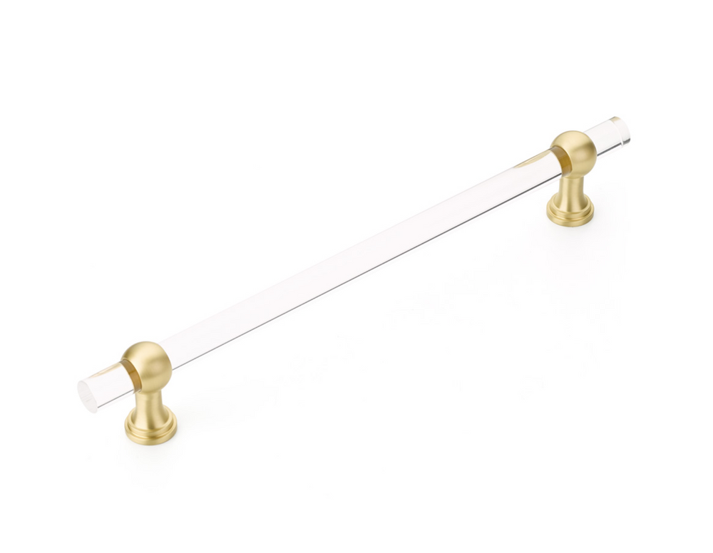 "Solid Lucite and Satin Brass ""Lumiere"" 12"" Appliance Handle"