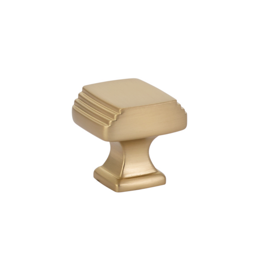 "Satin Brass Art Deco 1-1/4"" Square Cabinet Knob - Brass Cabinet Hardware"
