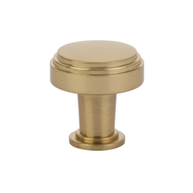 "Art Deco Round ""Newport"" Cabinet Knob in Satin Brass"