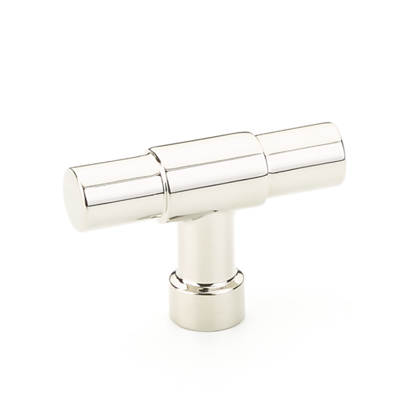 "Industrial Modern ""Jasper"" T-Knob Cabinet Knob in Polished Nickel - Brass Cabinet Hardware"