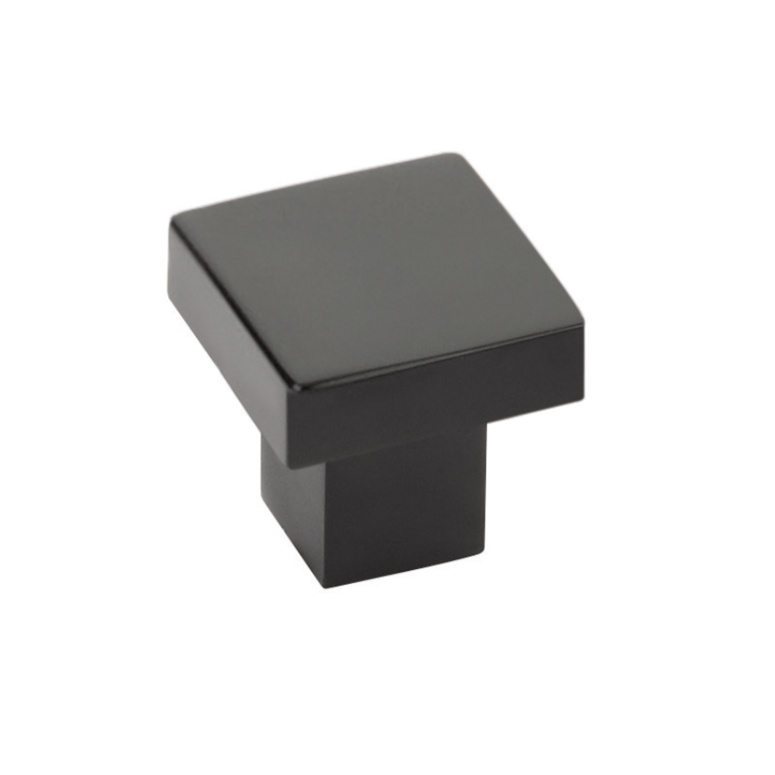Modern Rectangular Hunter Finger Pull in Matte Black - Brass Cabinet Hardware