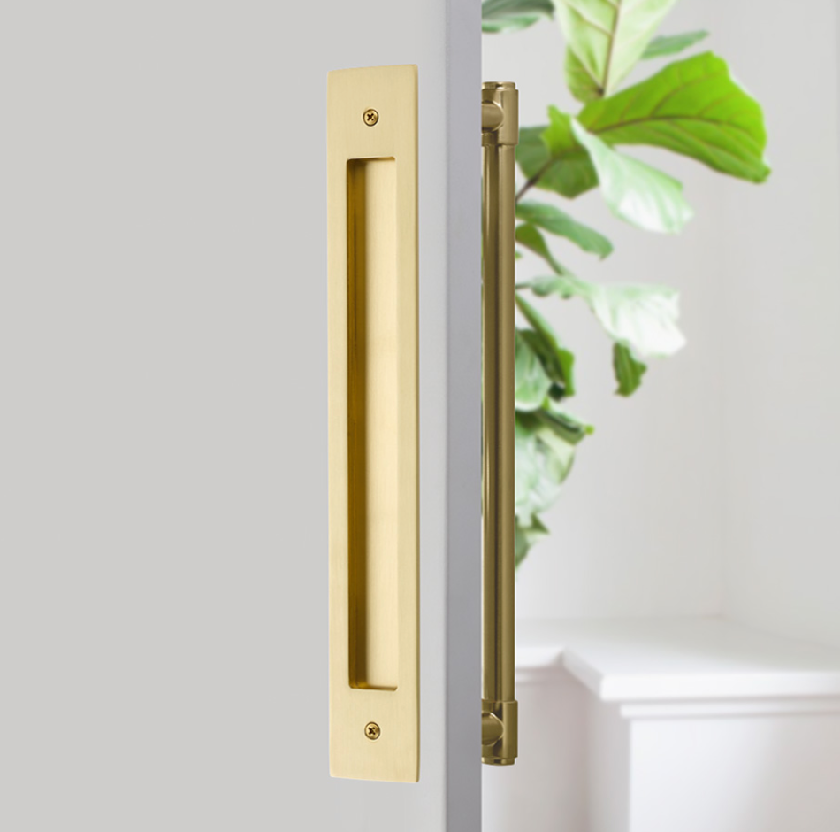 "Door Flush Pull and 12"" Handle Back to BackHardware for Interior Sliding and Barn Doors - Brass Cabinet Hardware"
