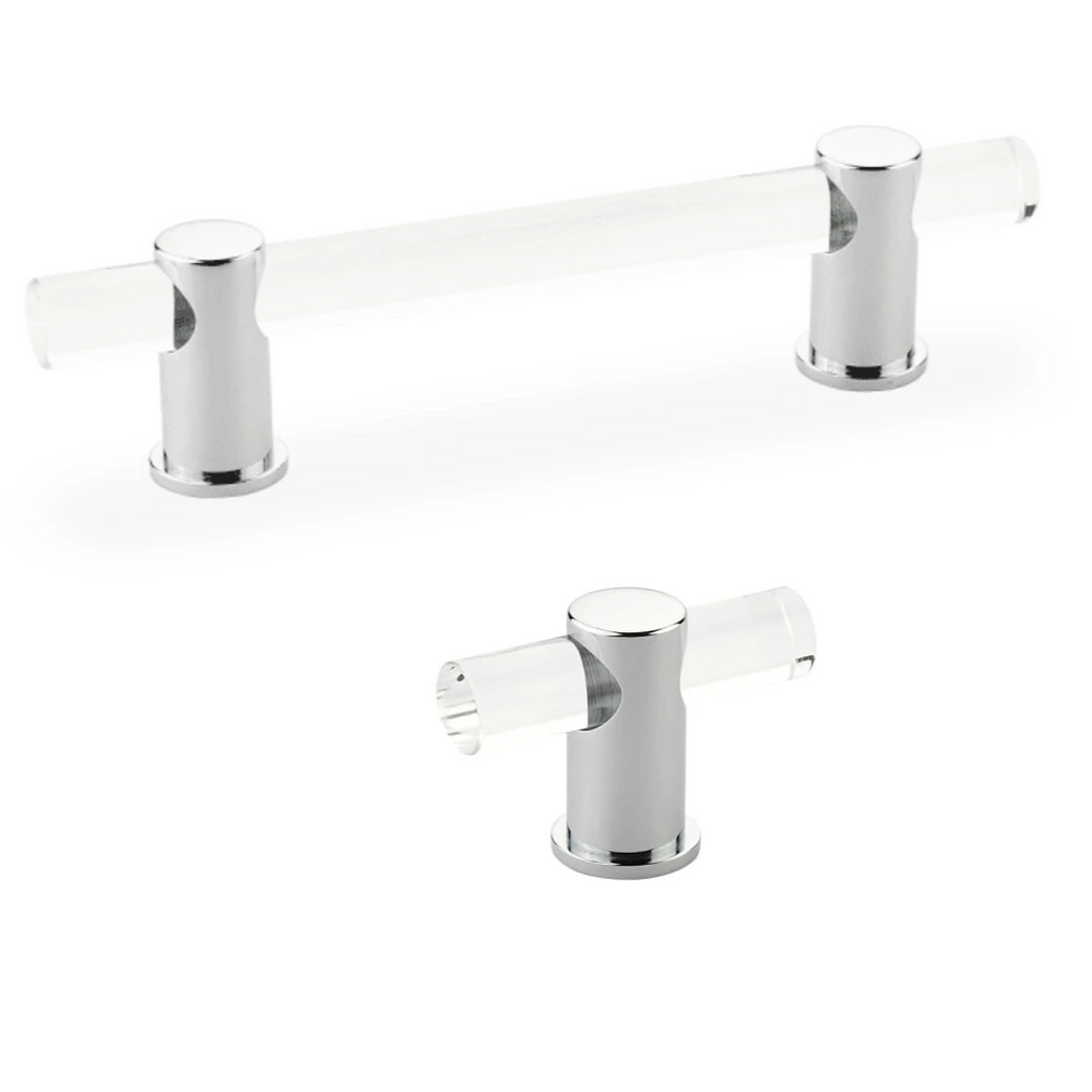 "Lucite ""Luz"" Polished Chrome Cabinet Knobs and Drawer Pulls"