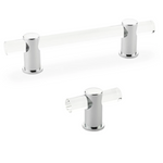 "Lucite ""Luz"" Polished Chrome Cabinet Knobs and Drawer Pulls - Brass Cabinet Hardware"