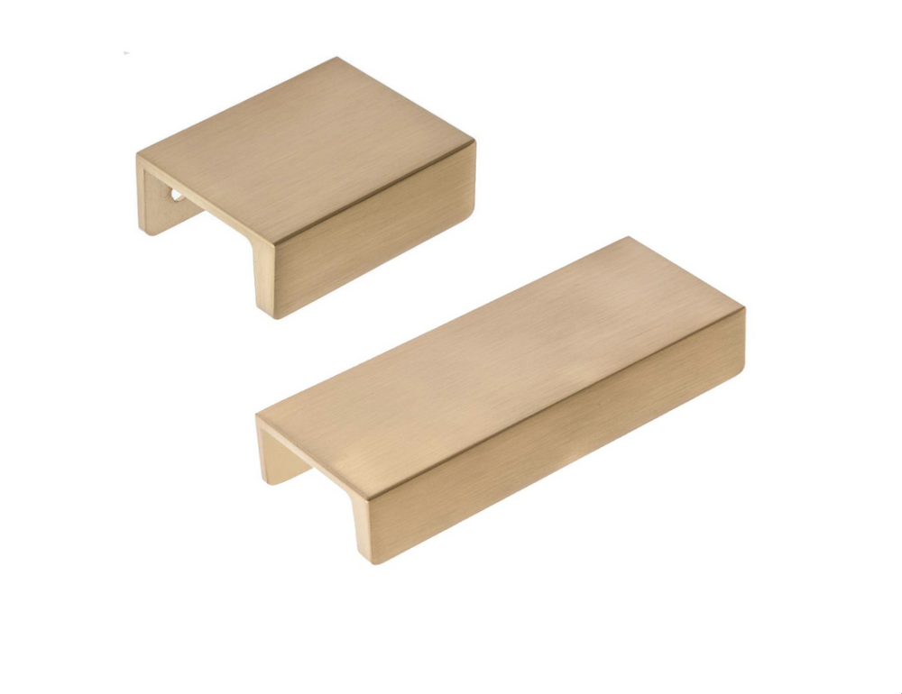 "Satin Brass Edge ""Summer"" Tab Drawer Pulls - Brass Cabinet Hardware"