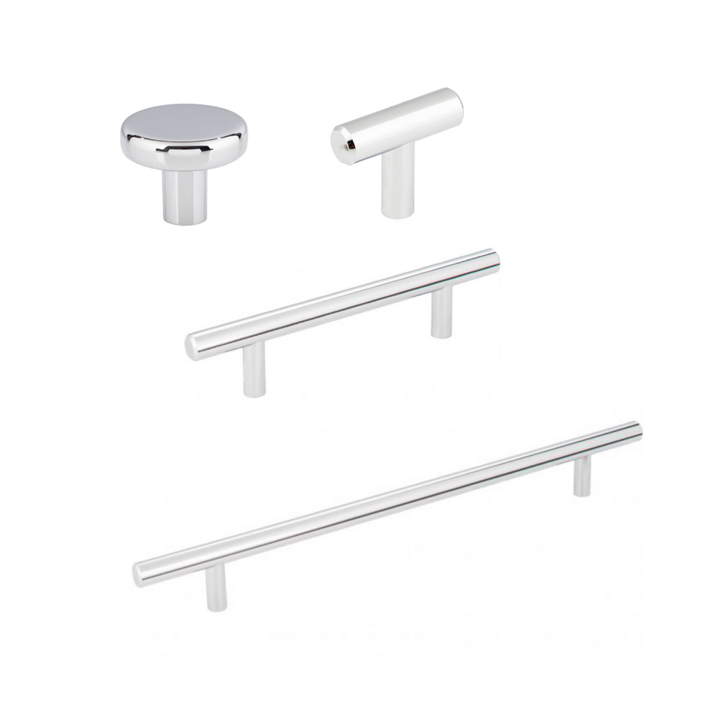 "Long ""Milano"" Pulls T-Bar Drawer Handles in Polished Chrome"