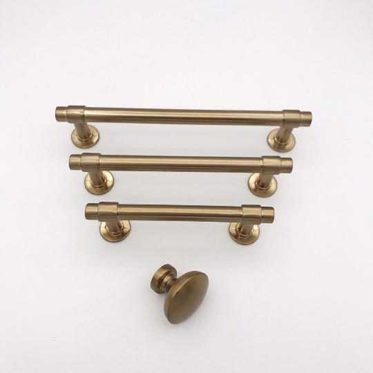 "Champagne Bronze ""Farmhouse"" Knob and Drawer Pulls - Brass Cabinet Hardware"