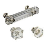Vienna Polished Nickel and Lucite Cabinet Pulls and Knobs - Brass Cabinet Hardware