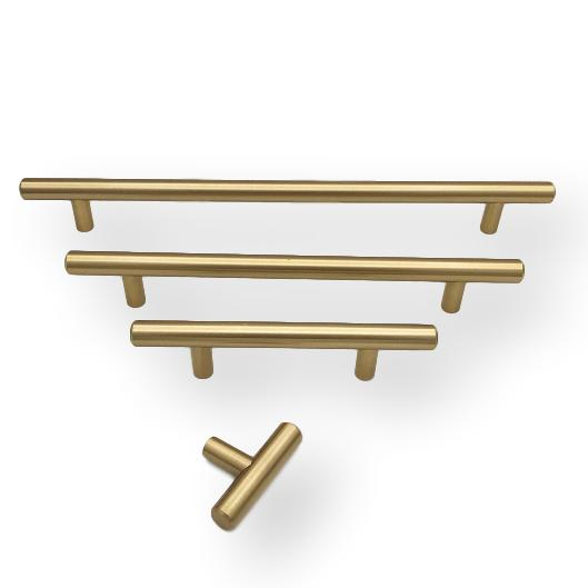 "Champagne Bronze ""Dash"" T-Bar Round Knob and Drawer Pulls"