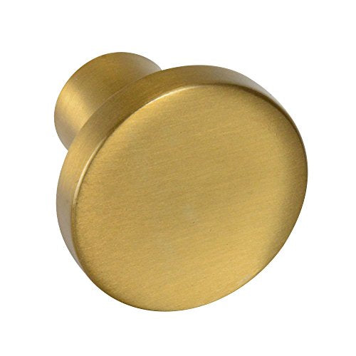 "European Round - 1-3/16"" Drawer Knob in Satin Brass"