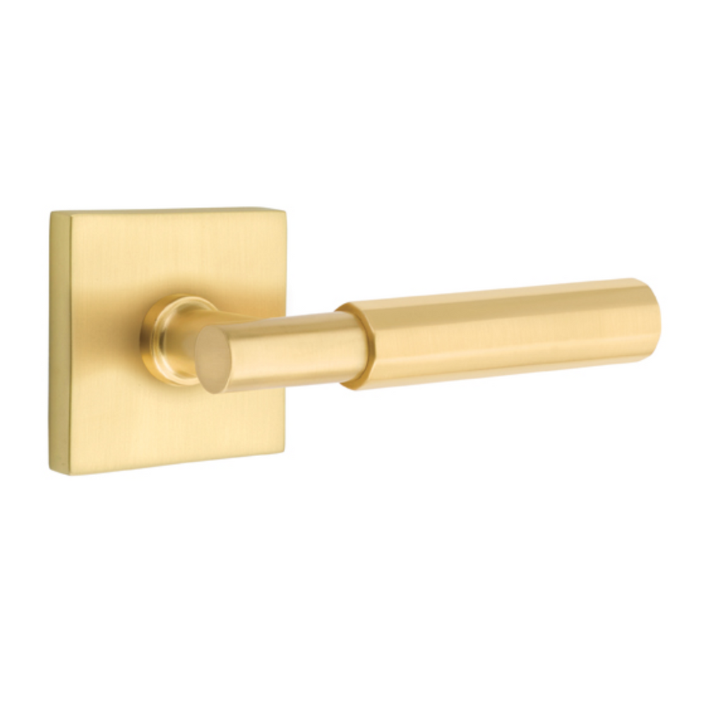 T-Bar Faceted SELECT Satin Brass Door Lever w/ Square Rosette