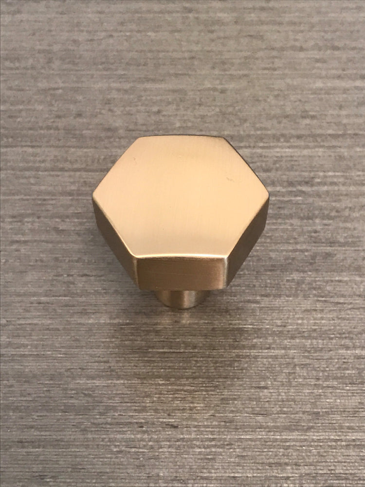 Geo Satin Brass Geometric Cabinet Knob Forge Hardware Studio