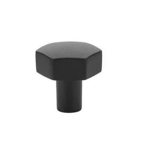 Mod Hex Knob in Matte Black - Geometric Cabinet Hardware - Brass Cabinet Hardware