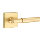 T-Bar Hammered SELECT Satin Brass Door Lever w/ Square Rosette