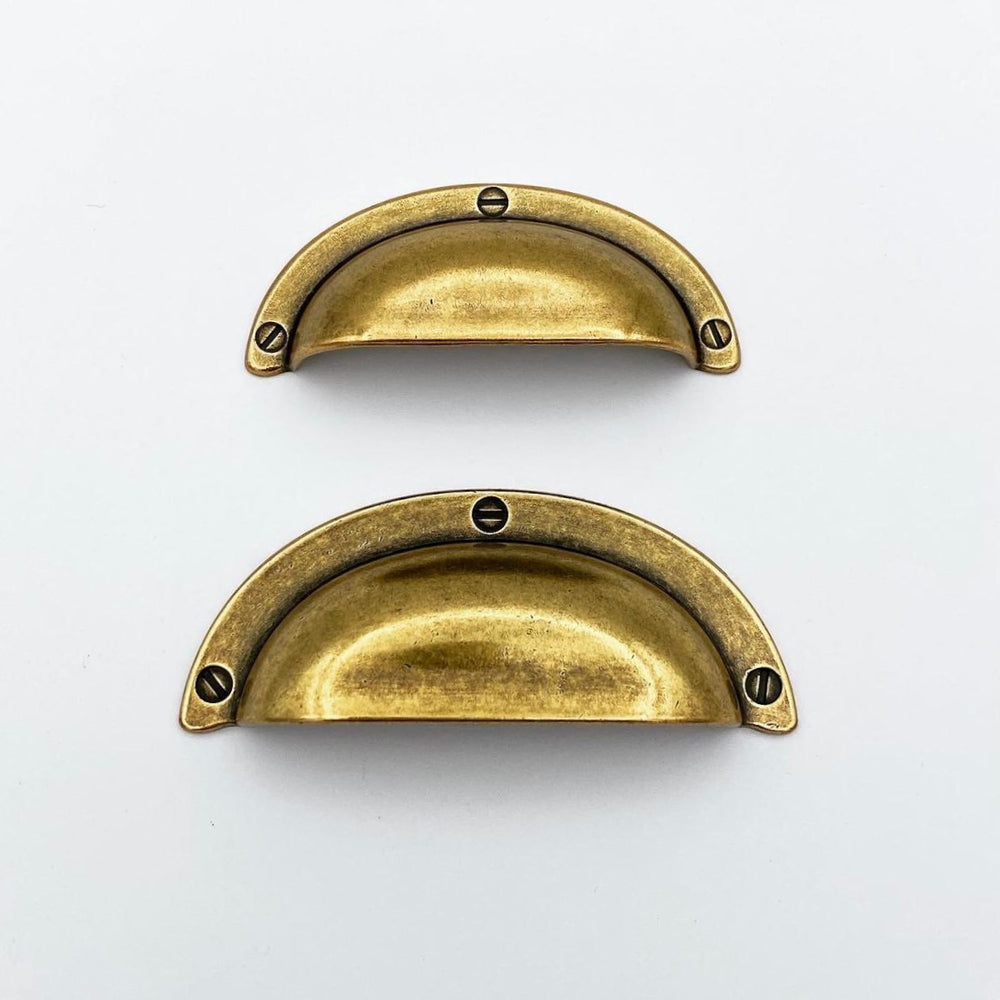 "Antique Brass ""Amalfi"" Cup Drawer Pulls"