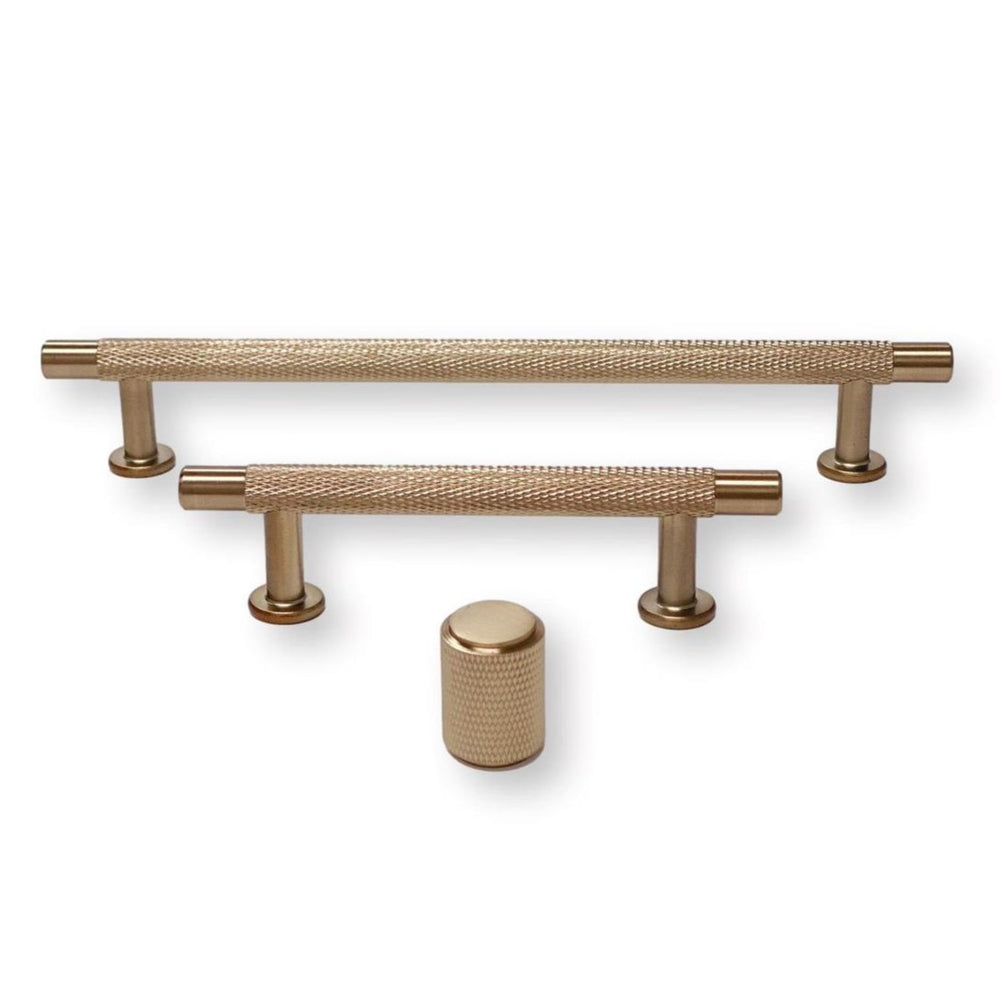 "Champagne Bronze ""Knurled"" Drawer Pulls and Knob"